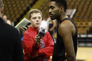 Milwaukee Panthers men's basketball guard Steve McWhorter and I along with other media members at 2014 Panther Media Day.