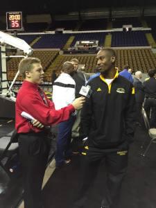Milwaukee Panthers men's basketball guard Justin Jordan and I at 2014 Panther Media Day.
