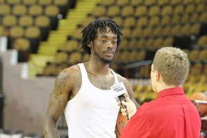 Milwaukee Panthers men's basketball forward Trinson White and I at 2014 Panther Media Day.