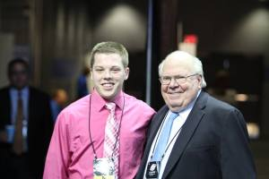 Legendary CBS broadcaster Verne Lundquist and I after an interview at the 2014 NCAA Tournament in Buffalo, N.Y.